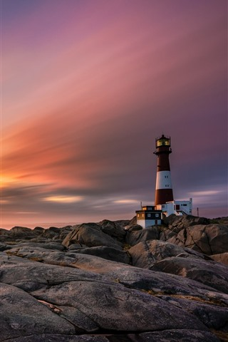 iPhone Wallpaper Norway, rocks, lighthouse, clouds, sunset