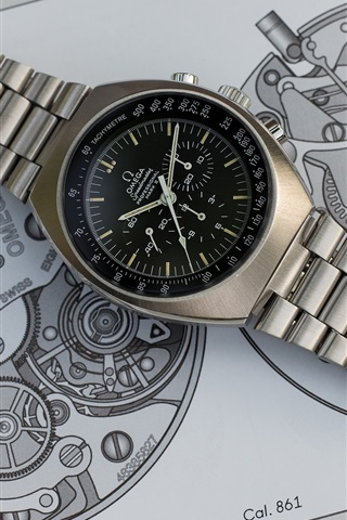 iPhone Wallpaper Omega metal watch, dial