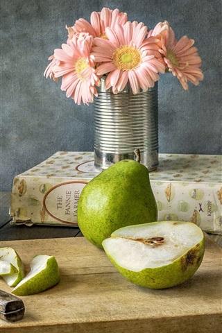 iPhone Wallpaper Pears, fruit, flowers, knife, still life