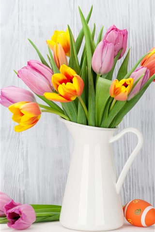 iPhone Wallpaper Pink and orange tulips, vase, Easter eggs
