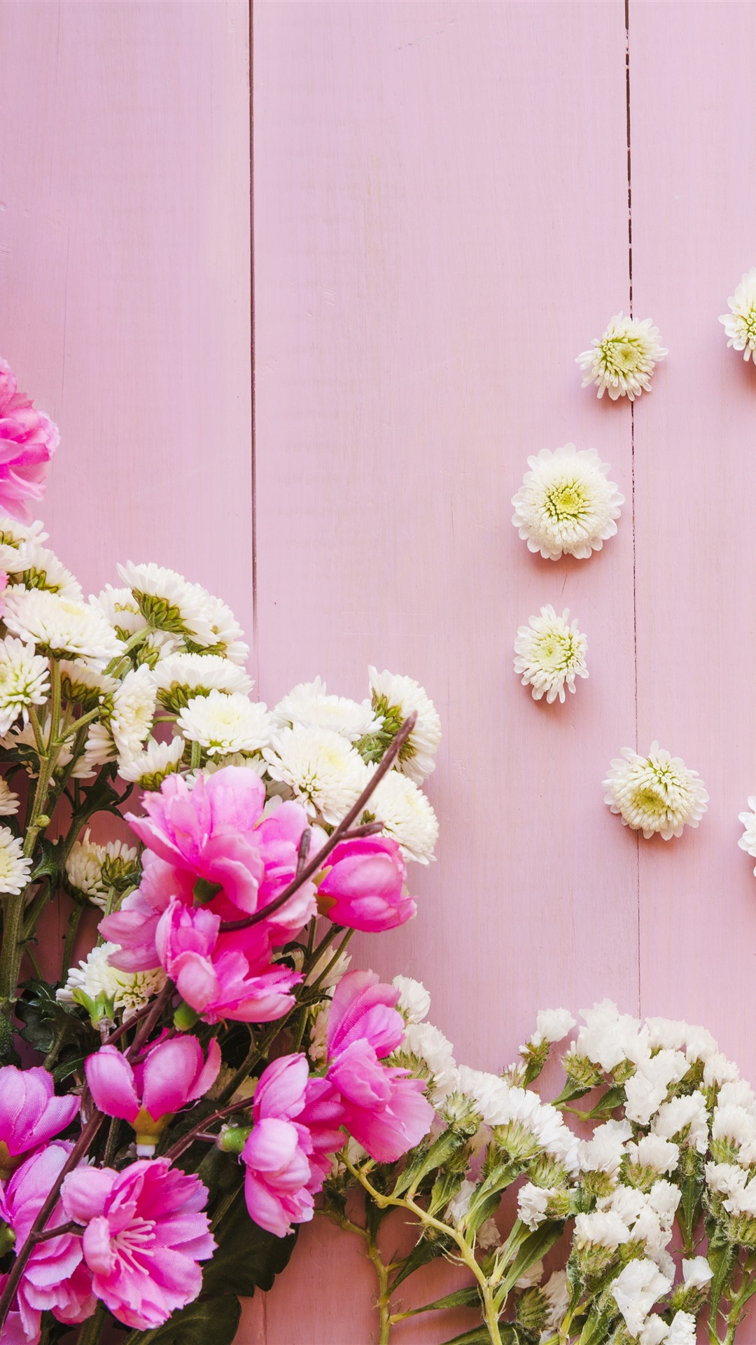 Pink And White Flowers Wood Background 1125x2436 Iphone 11 Pro Xs