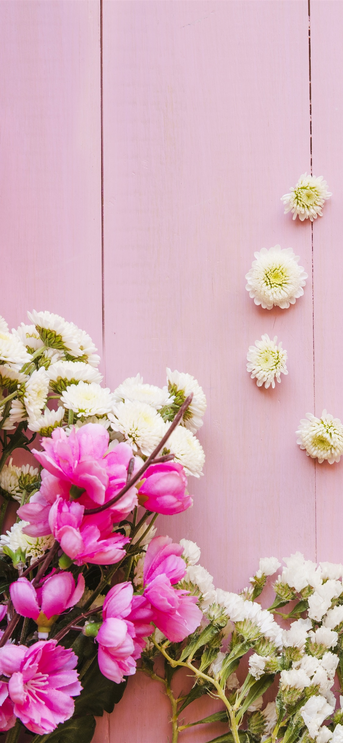 Pink and white flowers, wood background 1125x2436 iPhone XS