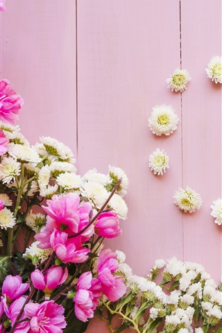 Flores Rosadas Y Blancas Fondo De Madera 1125x2436 Iphone Xs X
