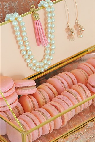 iPhone Wallpaper Pink macaroon, beads, decoration