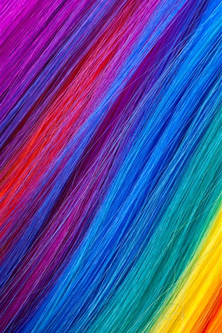 iPhone Wallpaper Rainbow color hairs