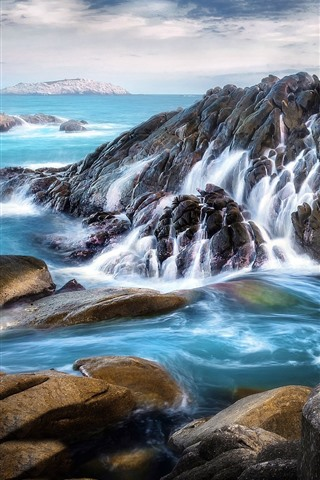 iPhone Wallpaper Sea, rocks, beautiful landscape
