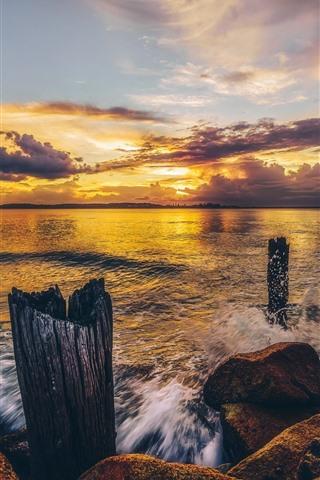 iPhone Wallpaper Sea, shore, rocks, clouds, sunset
