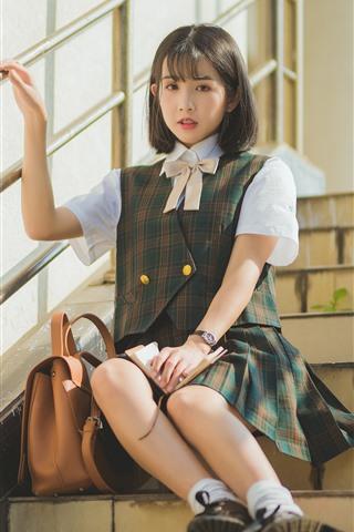 iPhone Wallpaper Short hair schoolgirl, ladder