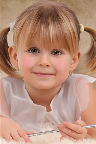 iPhone Wallpaper Smile cute little girl, magic wand