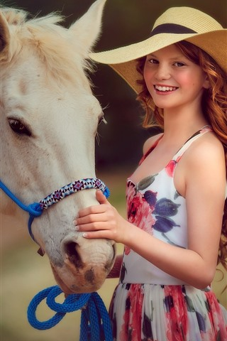 iPhone Wallpaper Smile girl, red hair, hat, horse