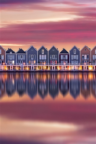 iPhone Wallpaper Some houses, river, water reflection, dusk, Netherlands