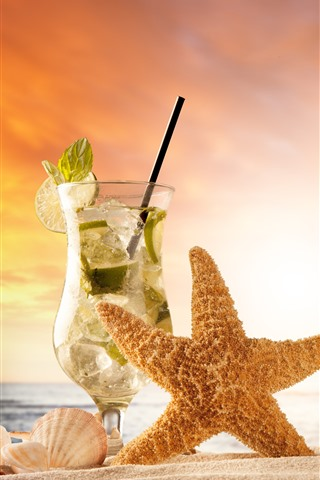 iPhone Wallpaper Starfish, mojito, drinks, sands