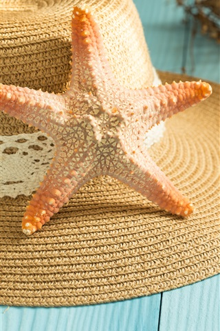 iPhone Wallpaper Starfish, seashell, hat