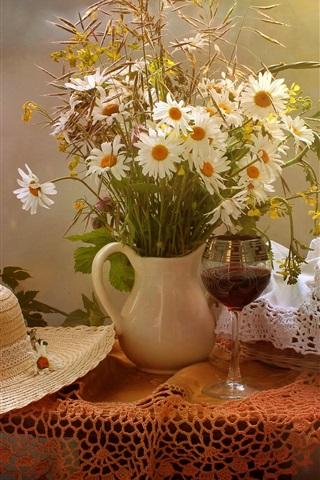 iPhone Wallpaper Still life, flowers, table, hat, bread