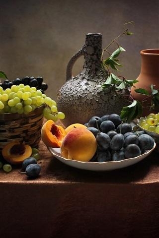 iPhone Wallpaper Still life, fruit, grapes, peach, plums