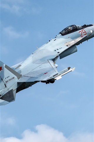 iPhone Wallpaper Su-35S fighter flight in sky