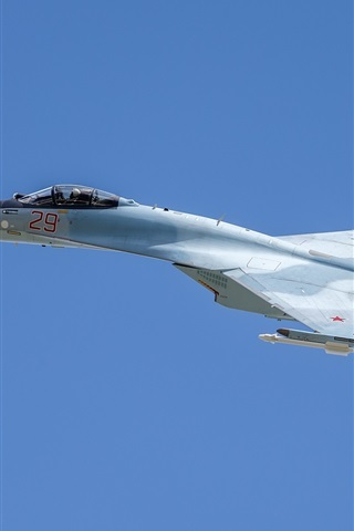 iPhone Wallpaper Su-35S multi-role fighter, blue sky