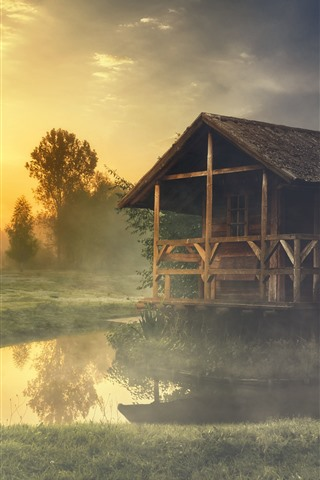 iPhone Wallpaper Summer, morning, forest, grass, pond, hut, fog