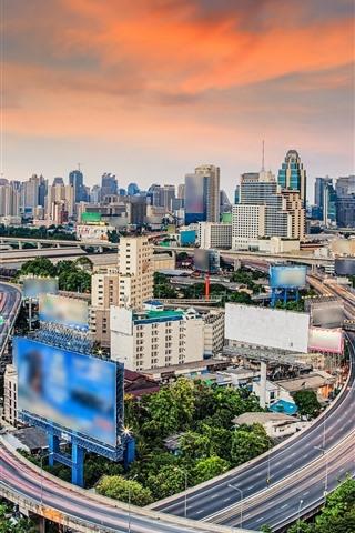 iPhone Wallpaper Thailand, Bangkok, skyscrapers, roads, city view