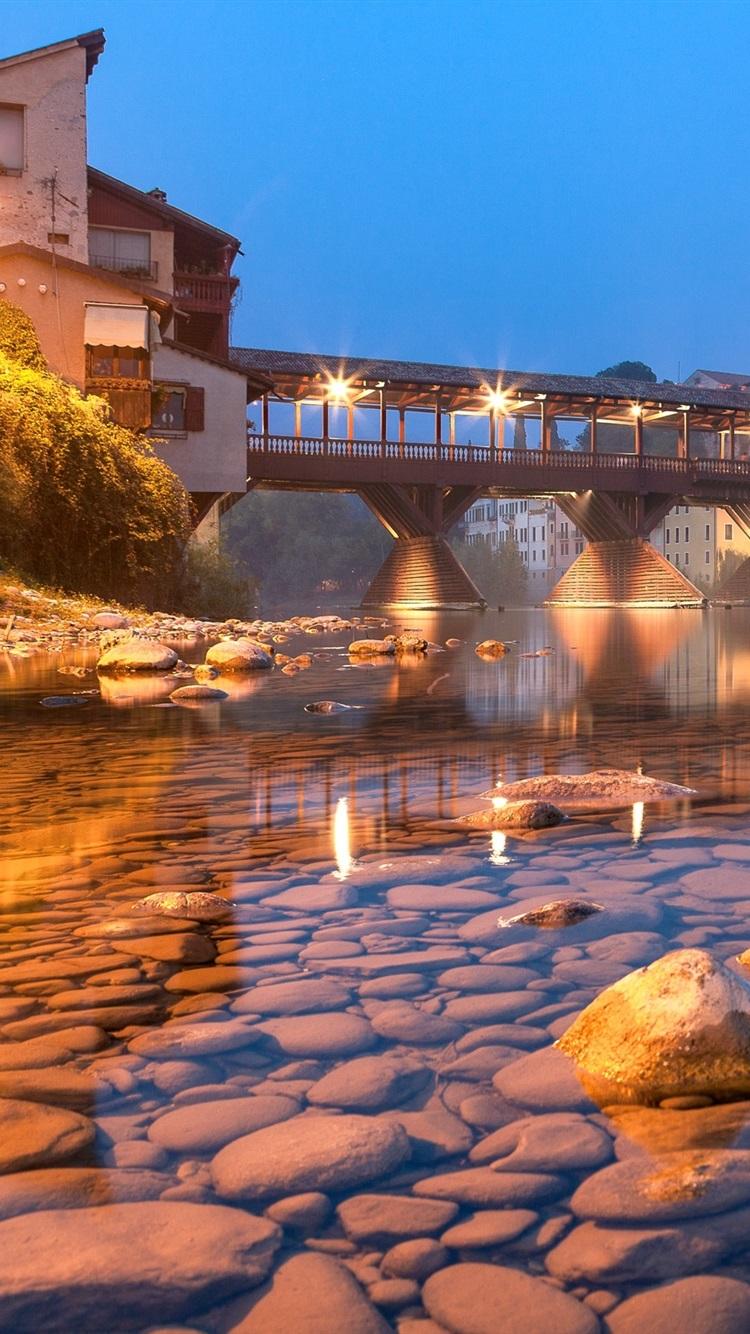 町 橋 きれいな水 石 ライト 夜 750x1334 Iphone 8 7 6 6s 壁紙