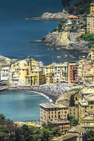 iPhone Wallpaper Travel to Italy, Liguria, houses, sea, coast
