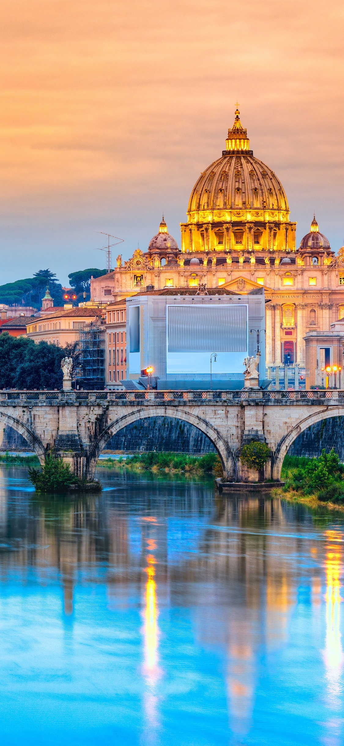 Travel To Rome Italy Cathedral River Bridge Dusk