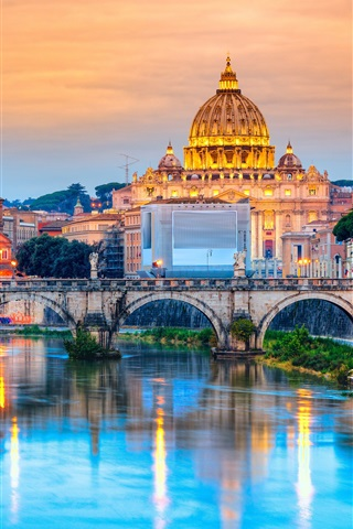 iPhone Wallpaper Travel to Rome, Italy, cathedral, river, bridge, dusk, lights