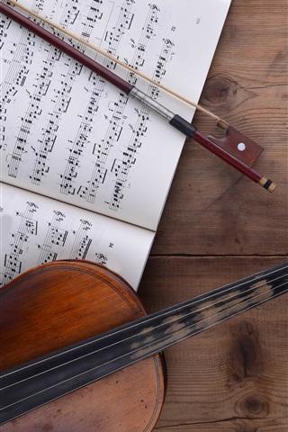 iPhone Wallpaper Violin, music score, wood table