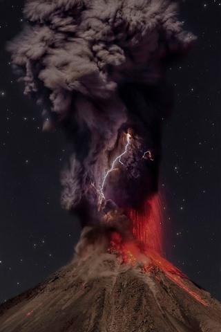 iPhone Wallpaper Volcano, lava, eruption, smoke, lightning, starry, night