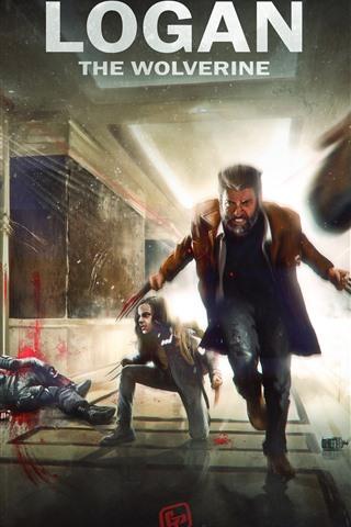 iPhone Wallpaper X-Men, Wolverine, Hugh Jackman, art picture