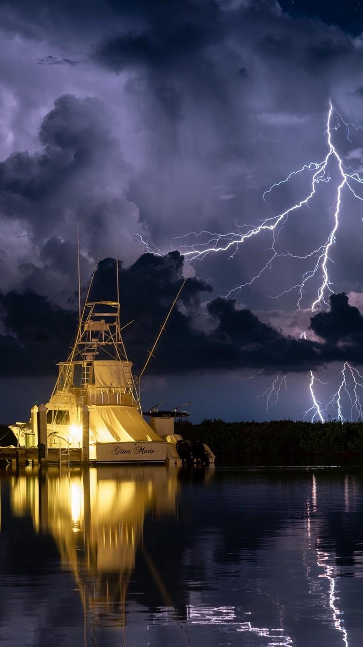 Yachts Dock Lightning Night 750x1334 Iphone 8 7 6 6s Wallpaper