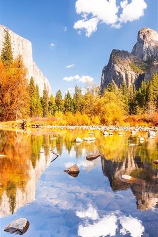 iPhone Wallpaper Yosemite National Park, beautiful autumn, mountains, lake, stones, trees
