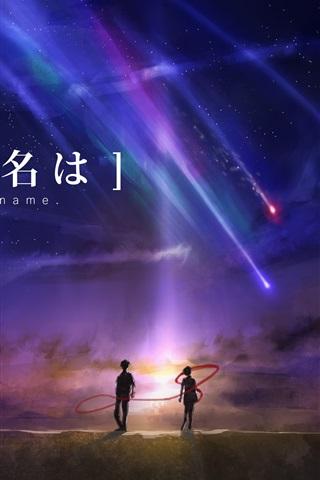 iPhone Papéis de Parede Seu nome, filme de anime, bela noite, meteoro