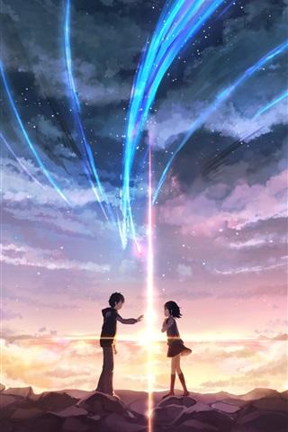 iPhone Papéis de Parede Seu nome, menina e menino, amor, anime japonês