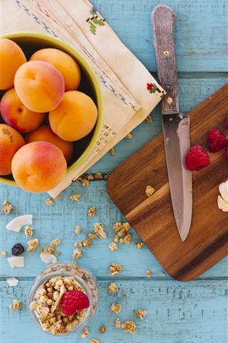 iPhone Wallpaper Apricot, banana, raspberry, knife