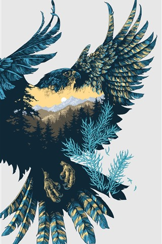iPhone Wallpaper Art picture, Falcon, nature, feathers, wings