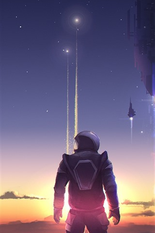 iPhone Wallpaper Art picture, astronaut, rocket, planet