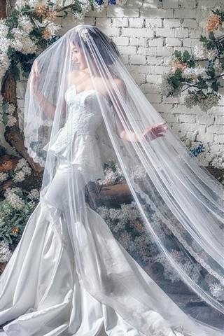 iPhone Wallpaper Asian girl, bride, white skirt
