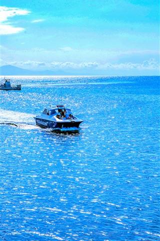 iPhone Обои Австралия, прекрасное синее море, лодка