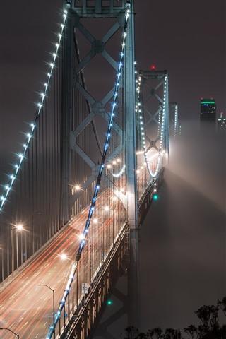 iPhone Wallpaper Bay Bridge, San Francisco, USA, night, illumination