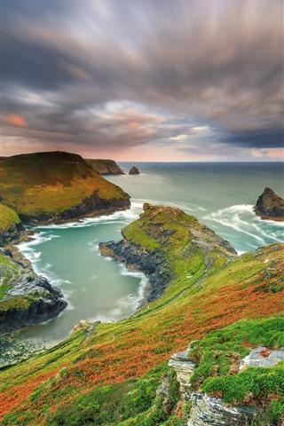 iPhone Papéis de Parede Bela natureza paisagem, montanhas, mar, costa, cores