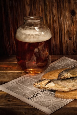 iPhone Wallpaper Beer, dry fish, cigarette, match