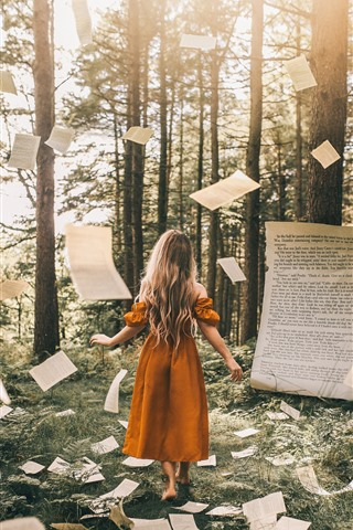 iPhone Wallpaper Blonde girl, magic, paper flying, forest, creative picture