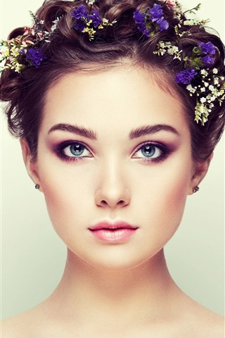 iPhone Wallpaper Blue eyes girl, fashion, hair style