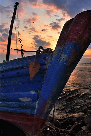 iPhone Wallpaper Boat, rocks, sea, sunset