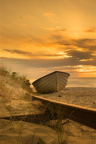 iPhone Wallpaper Boat, sands, beach, sea, sunset