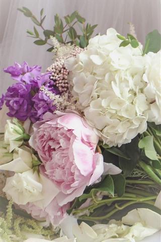 花束 カラフルな花 白 ピンク 紫 640x1136 Iphone 5 5s 5c Se 壁紙