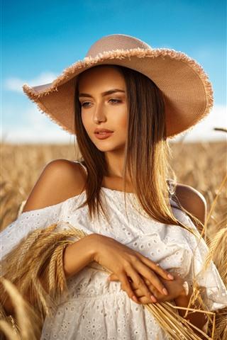 iPhone Wallpaper Brown hair girl, hat, wheat field, summer