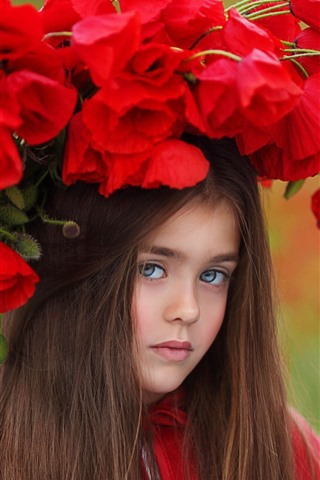 iPhone Wallpaper Brown hair little girl, red poppies, wreath