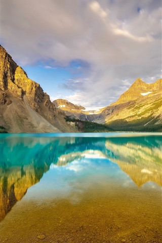 iPhone Wallpaper Canada, Alberta, Banff National Park, mountains, Bow Lake, water reflection